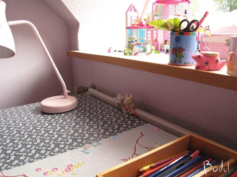 Skrivebord med retrotapet og pip stribe