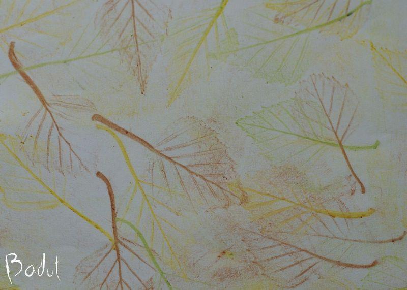 Efterårsblade i en bunke