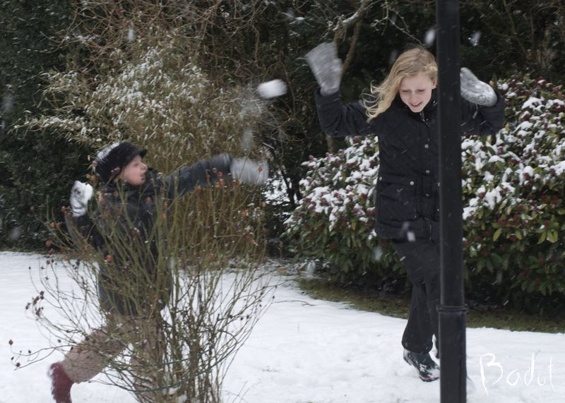 Der slås med sne