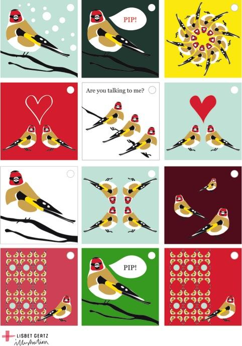 Til og fra kort med fugle