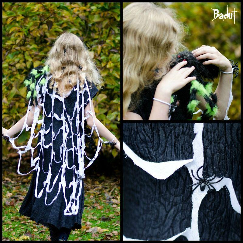 Klædt ud som edderkoppe kvinde