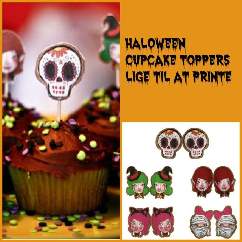 Halloween Cupcake toppers lige til at printe