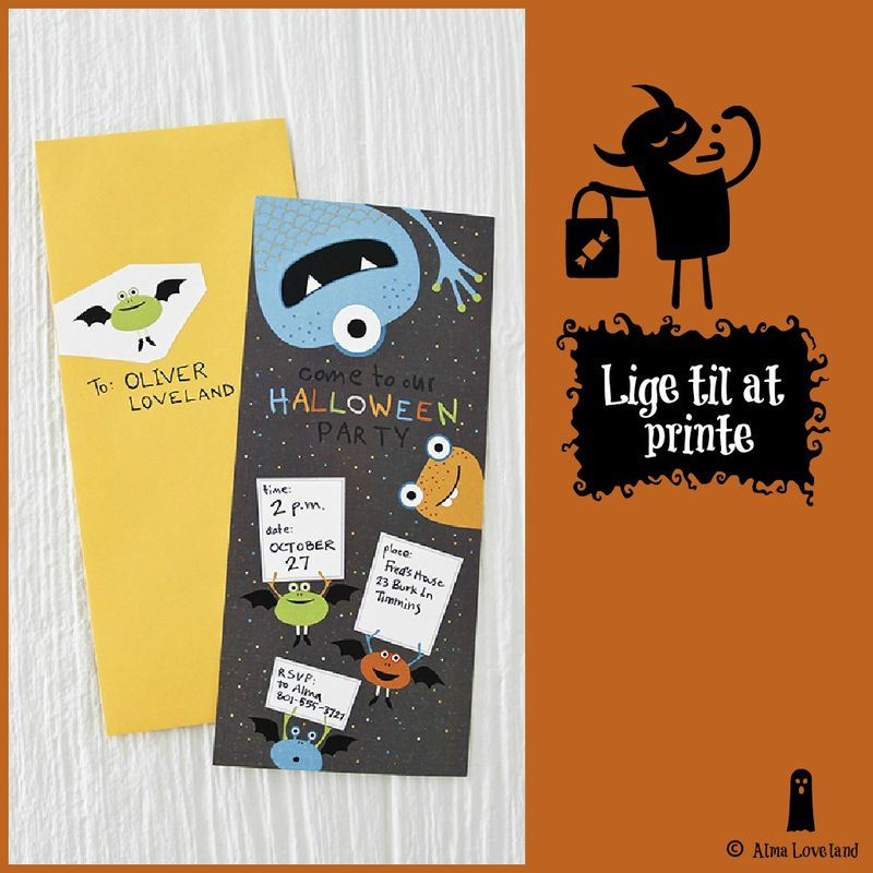 Halloween invitation lige til at printe