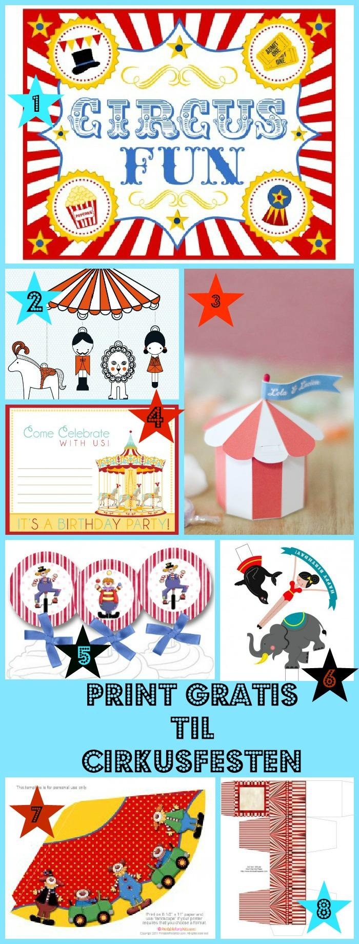 Ting man kan printe til en cirkusfest