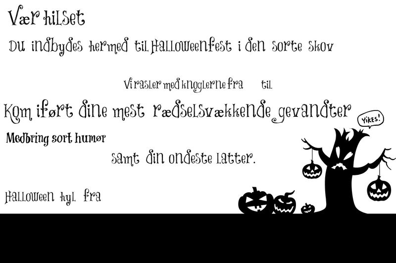 Sort Hvid Halloween invitation