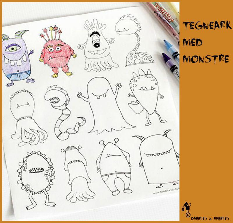 Tegneark med monstre