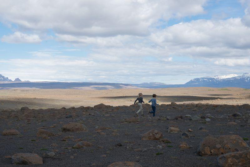 Børnene løver i landskab på Island