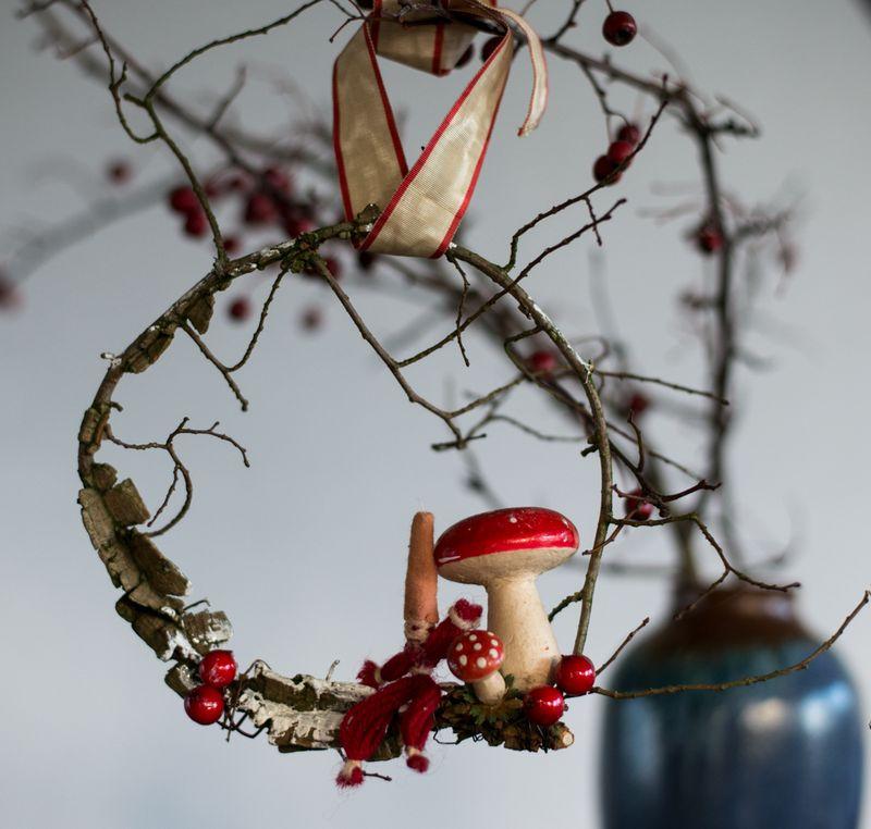Lille julekrans af korkelm