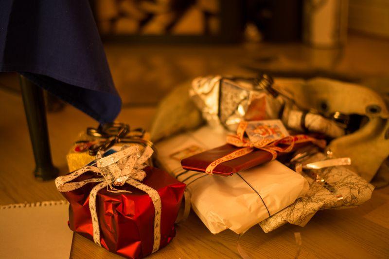 Julmandens sæk med gaver