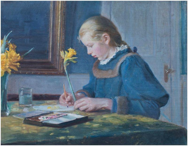 Helga Ancher Maler påskeliljer