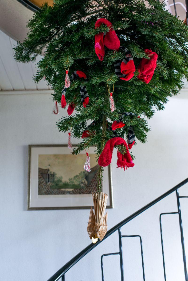 Drillenissen pynter juletræ