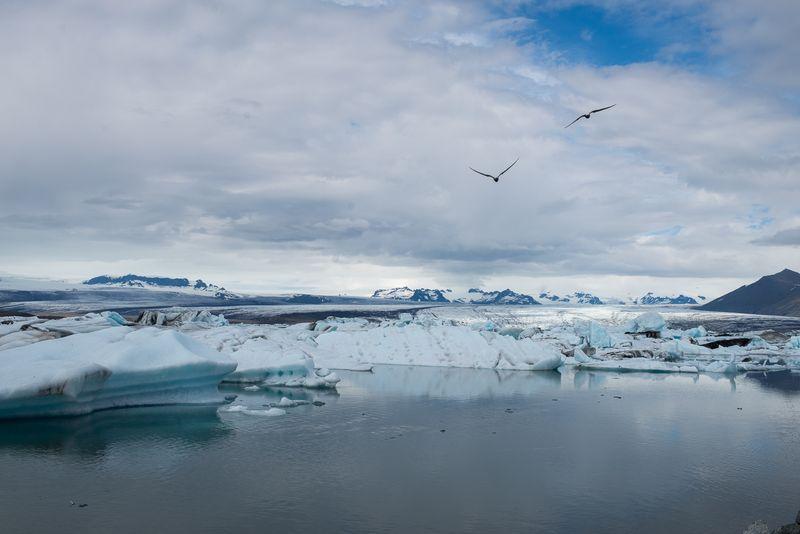 Jökulsárlón udsigt ind over gletscheren