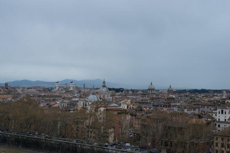 Udsigt ud over Rom fra Castel Sant'Angelo