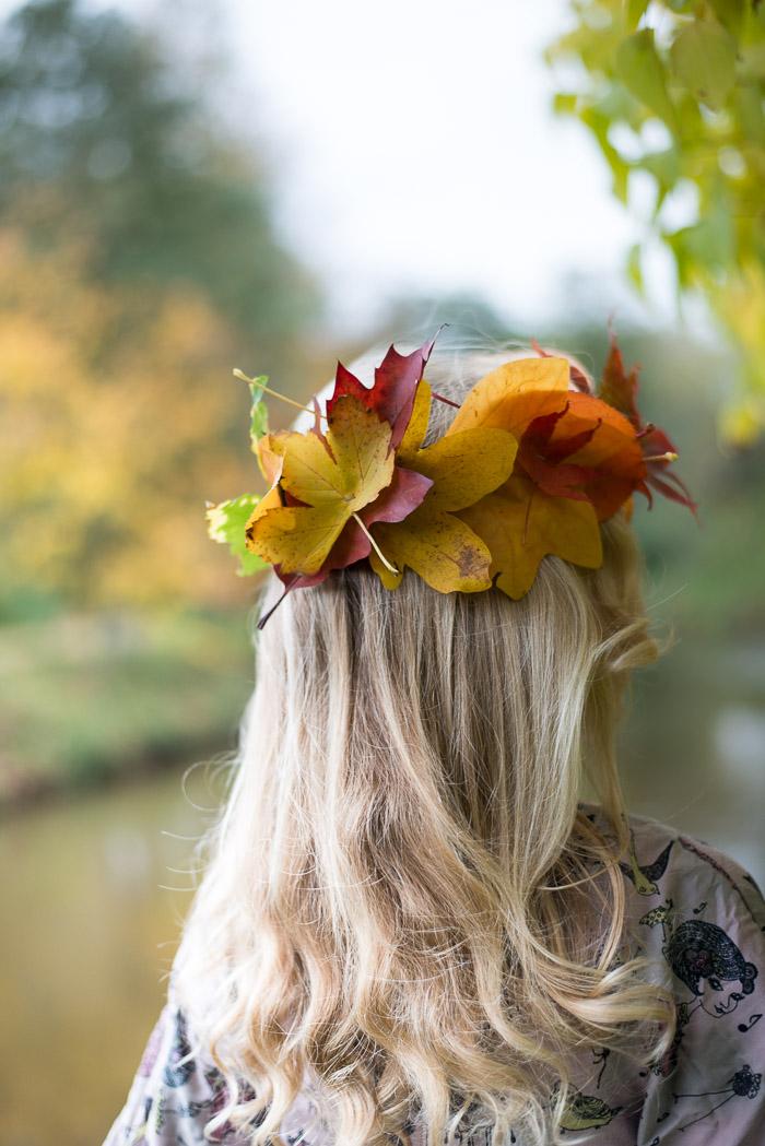 Bladkrone af efterårsblade