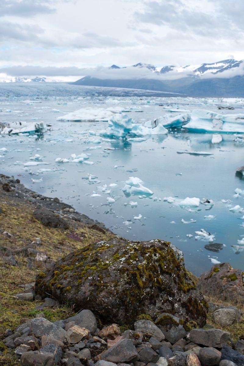 Jökulsárlón med Breiðamerkurjökull gletcher i baggrunden