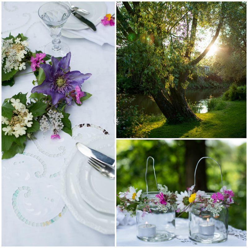 Blomsterkrans til bordpynt