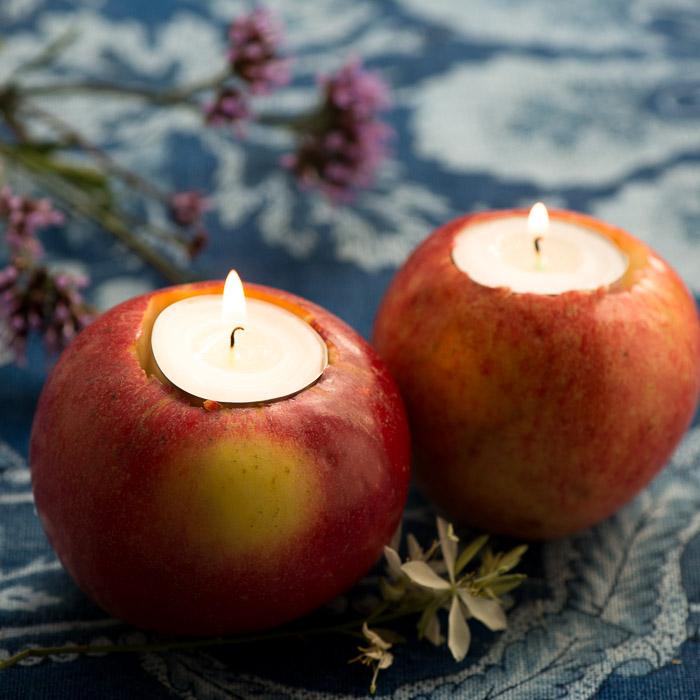 Lysestage af æble